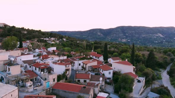 Aerial View Over Traditional Authentic Mountain Village in Cyprus