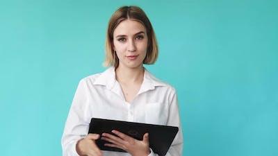 Business Woman Digital Marketing Woman Tablet