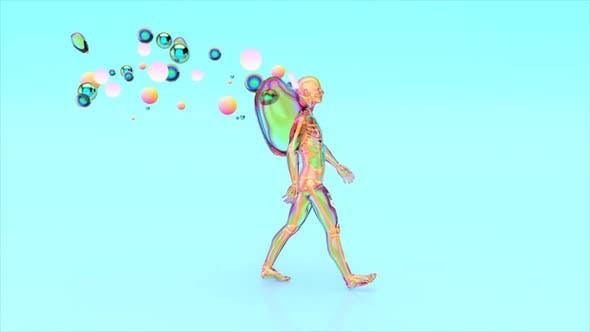 Abstract man walking