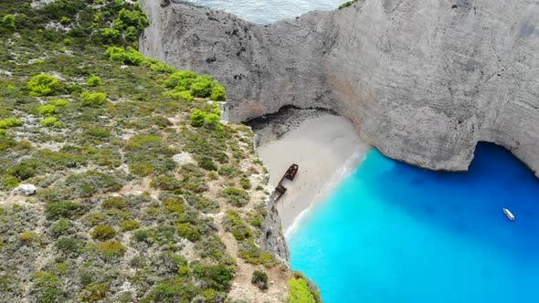 Aerial View of Navagio Shipwreck Beach in Zakynthos Greece