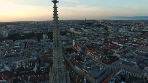 Aerial view of Stephansdom tower