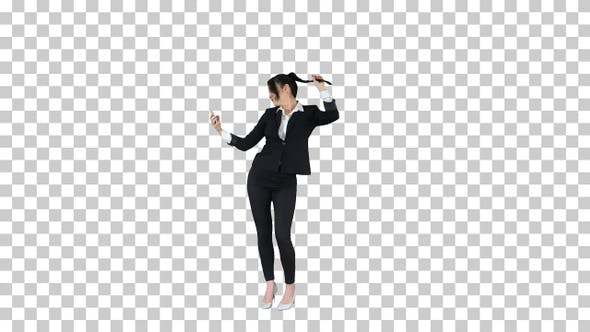 Thumbnail for Business woman look into smart phone preening, Alpha Channel