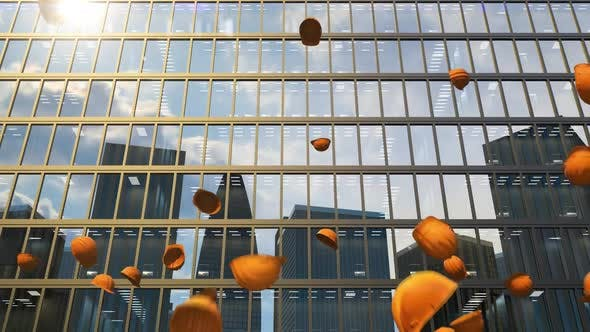 The Office Building Is Already Completed and Safety Helmets Throw Up in the Air