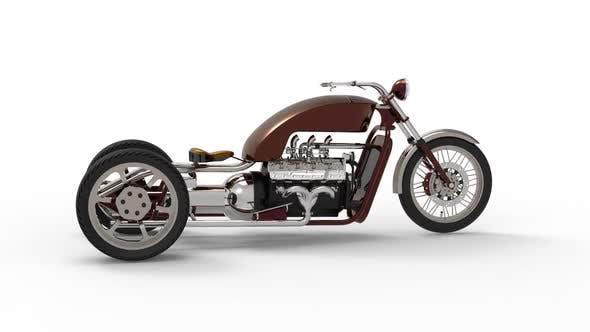 Ein altes dreirädriges Motorrad