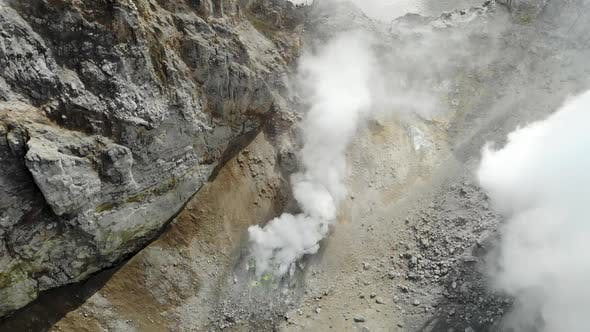 Thumbnail for Aerial View of Fumaroles in Crater of Mutnovsky Volcano