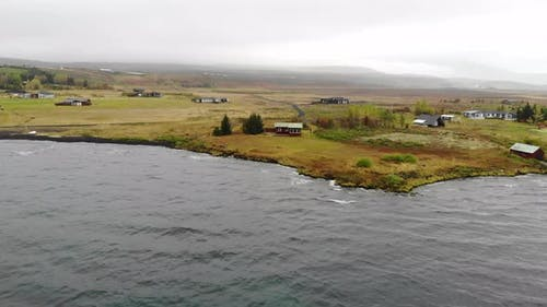 Aerial View of a Lake House Iceland
