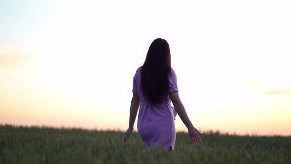 Thumbnail for A Young Girl Happily Walking in Green Field Touching with Hand Wheat Ears at Sunset.