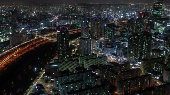 Aerial Seoul Illumination Skyscrapers Korea