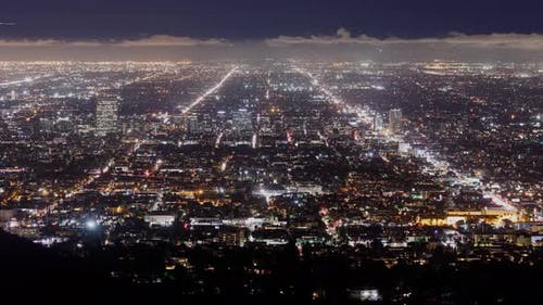 Time Lapse looking out over Hollywood at night.
