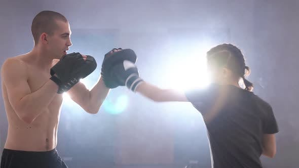Thumbnail for Coach Training Young Teen Boxing. People Training, Working Out, Exercising in Gym. Slow Motion