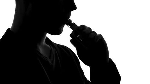 Vaper Silhouette Exhaling Smoke of E-Cigarette, Bad Habits and Addiction, Device