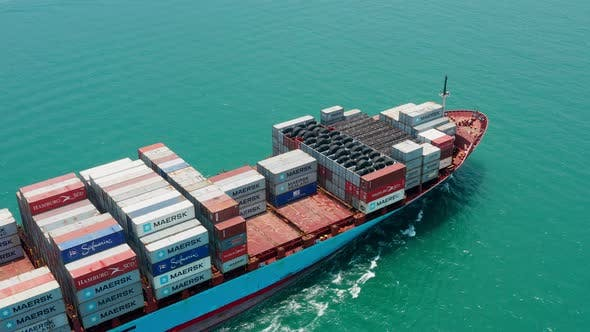 Thumbnail for Aerial View of Container Cargo Ship in Sea