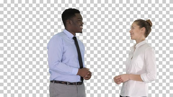 Thumbnail for Afro american guy and girl talking about business, Alpha Channel