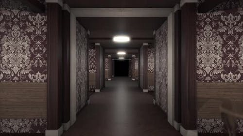Abstract scary hallway inside old hotel building