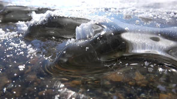 Curved Oval Ice Sheet Waves