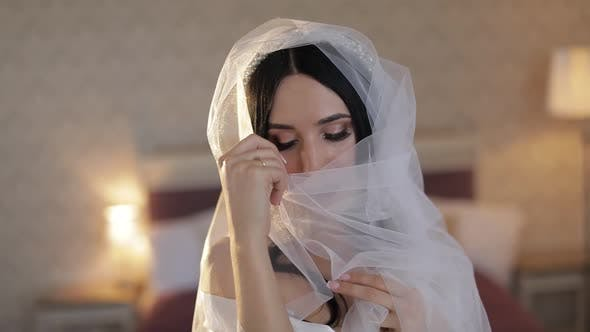 Thumbnail for Beautiful and Lovely Bride in Night Gown and Veil, Wedding Morning, Slow Motion