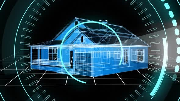 House structure and 5G written in the middle of a futuristic circles