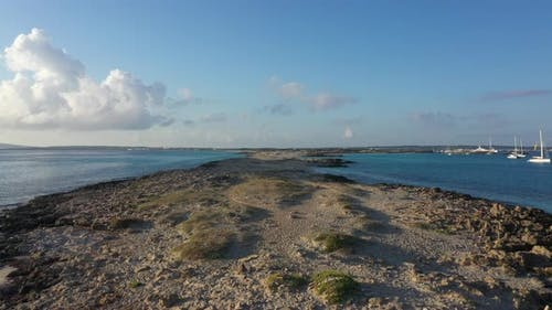 Aerial View Over the Clear Beach and Turquoise Water of Formentera Ibiza