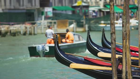 Thumbnail for Gondola Boats Floating on Water, Transportation in Venice, Marine City Tours