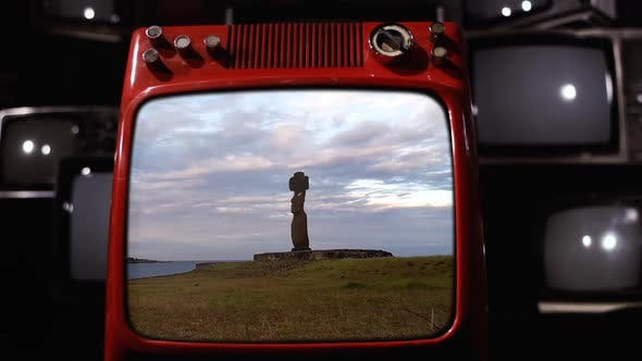 Thumbnail for Chile, Easter Island, Moai on a Retro TV.
