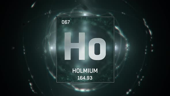 Holmium as Element 67 of the Periodic Table on Green Background