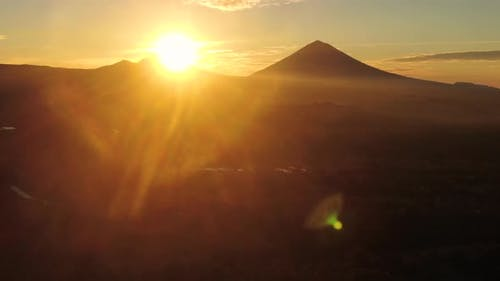 Aerial View Of Mount Agung During Sunrise In Bali, Indonesia.