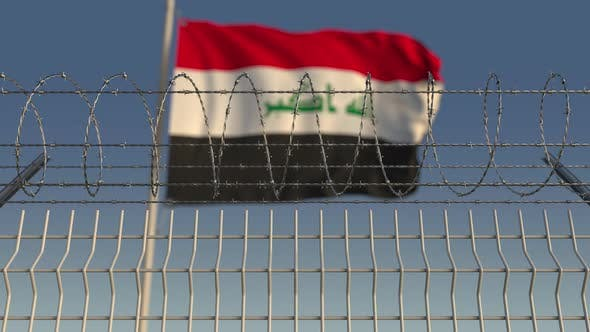 Thumbnail for Barbed Wire Against Waving Flag of Iraq