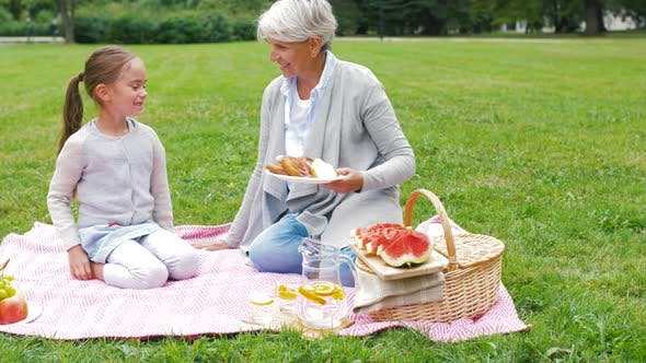 Thumbnail for Grandmother and Granddaughter at Picnic in Park