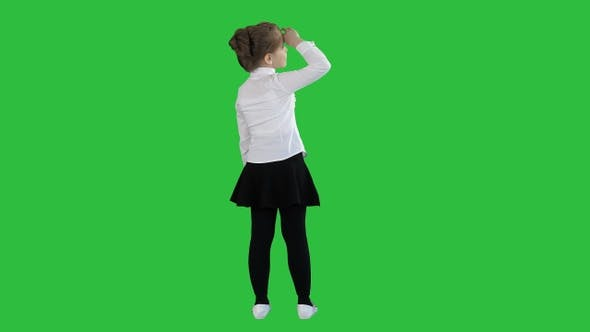 Thumbnail for Little girl looking away on a Green Screen, Chroma Key.