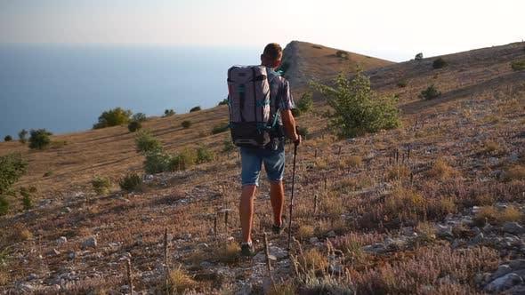 Travel Mountain Hike Following Shot of Man Travel on Crimea Black Sea Hiking Mountain Hike Travel