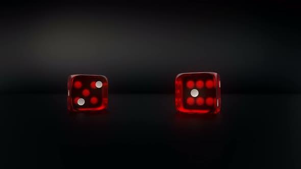 Thumbnail for Paar Red Glass Casino Würfel Roll Zeitlupe Ergebnis Paar von vier