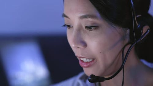 Customer services representative working at night