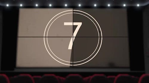 Film Countdown on the Cinema Screen in the Movie Theater Without Audience