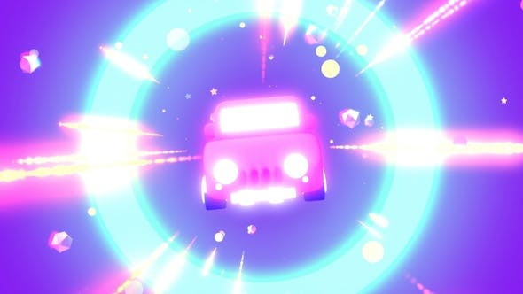 Neon Retro Car