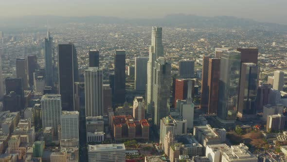 Thumbnail for AERIAL: Breathtaking Wide Shot of Downtown Los Angeles, California Skyline in Beautiful Sunlight