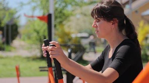 Outdoor Sport Woman Running on Simulator