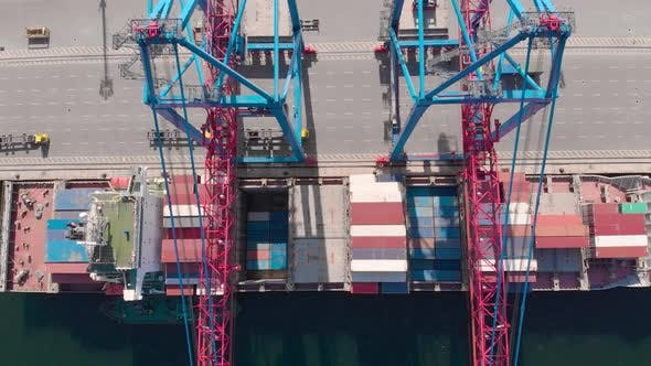 Thumbnail for Drone Flying Over a Container Ship During Cargo Operations Over the Customs Area