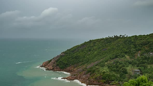 Thumbnail for Dark Rainy Clouds Over Tropical Sea with Rock Mountain in Koh Phangan Island, Thailand