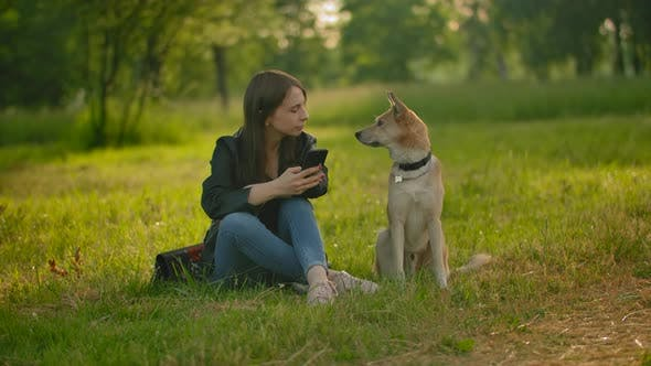 Thumbnail for The Girl Checking Her Social Networks in a Smartphone Next To the Dog.