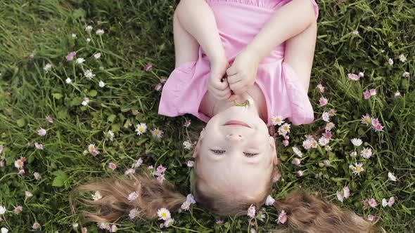 Thumbnail for Smiling Little Cute Baby Girl Lying on Green Grass Holding Flowers Looking at Camera