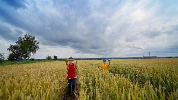 Children playing in farmland
