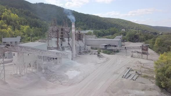 Thumbnail for Aerial View on Buildings of Plant of Processing Limestone in Sunny Day