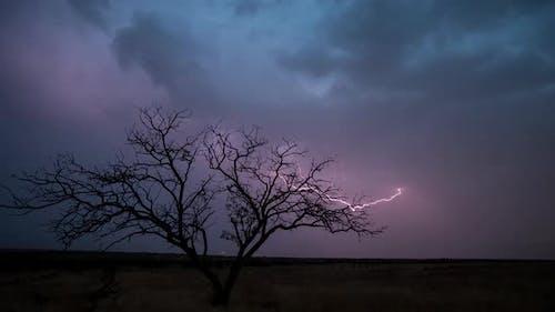 Time Lapse of lightning striking.