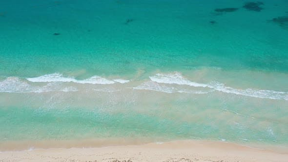 Aerial View with Tropical Seashore of Caribbean Sea with Waves