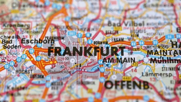 Thumbnail for City Frankfurt On Europe Map, Slider Shot