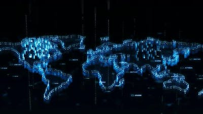Rotating World Map Hologram