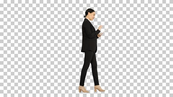 Smiling Businesswoman using computer pad, Alpha Channel