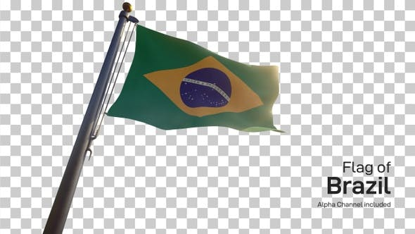 Thumbnail for Brazil Flag on a Flagpole with Alpha-Channel