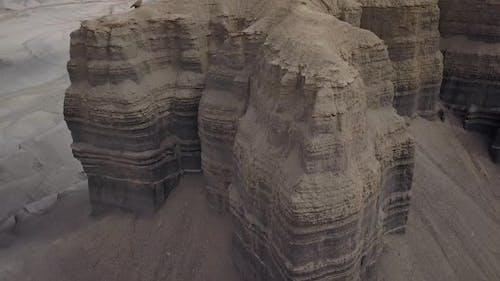 Rising aerial view of desert mesa