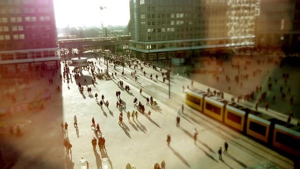 Thumbnail for Crowds of People Walking in City Street District at Sunset Light